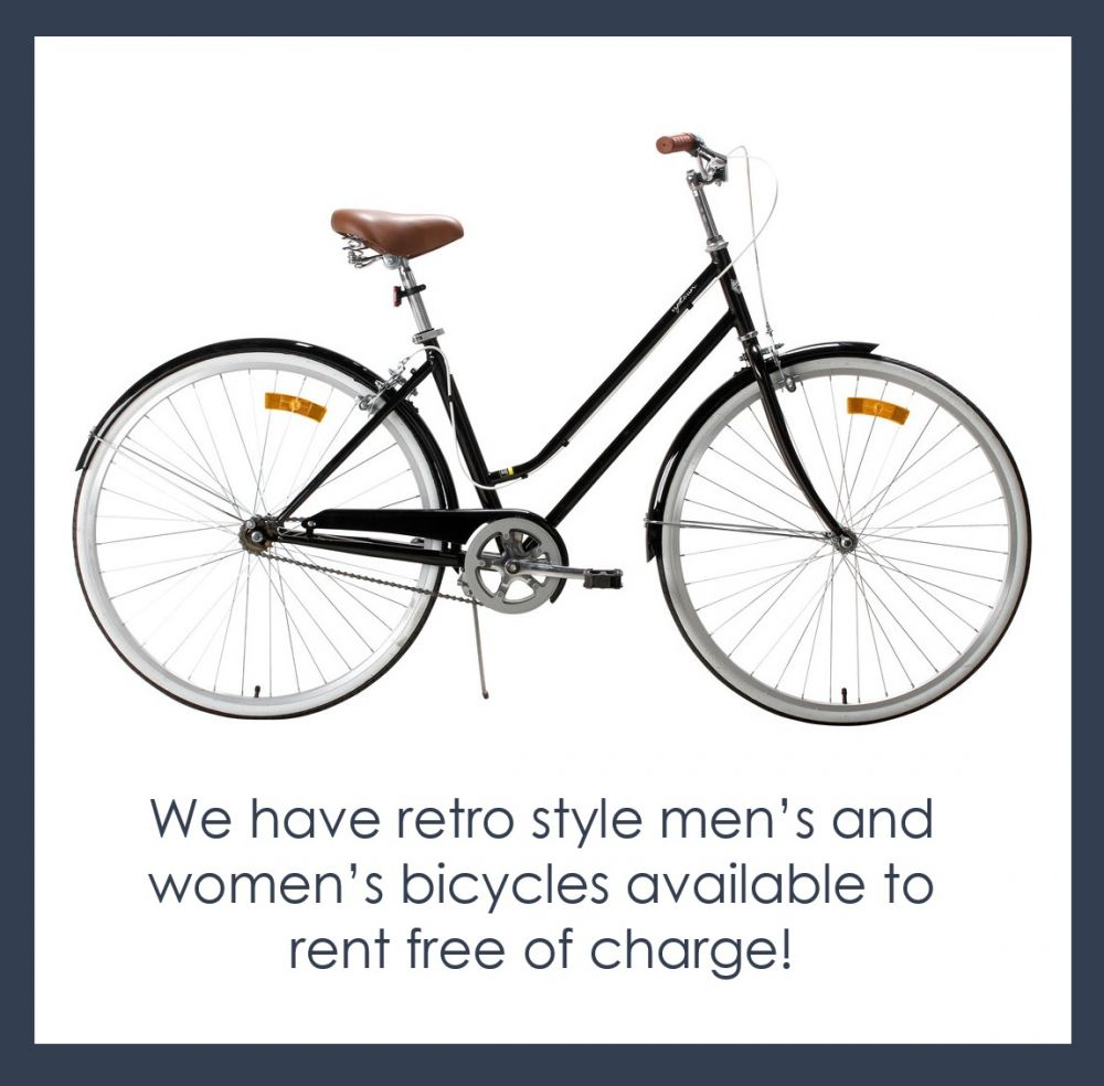 Free bycicle hire at Kimberley Gardens Hotel St Kilda East